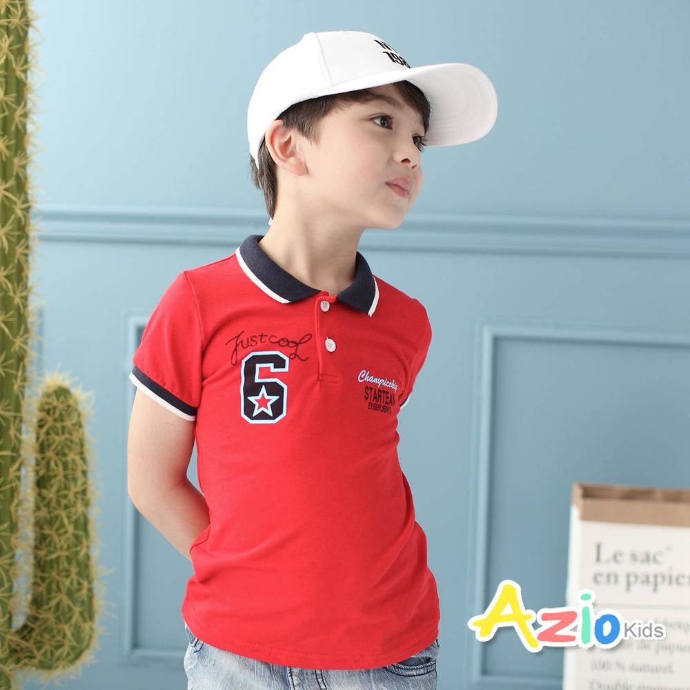 Azio Kids-POLO衫 數字6星星配色領短袖POLO衫(紅)
