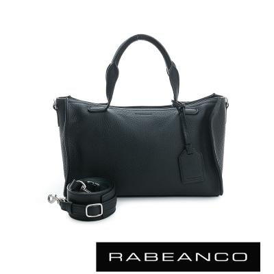 RABEANCO-荔枝紋皮革手提肩背長方肩背包-黑
