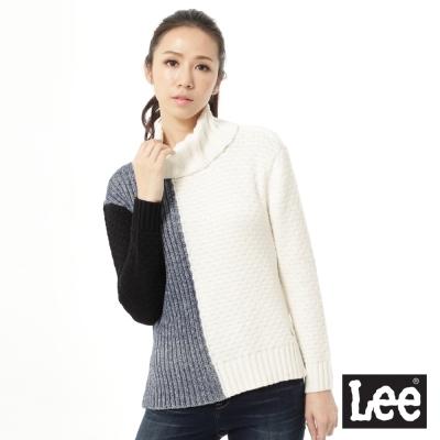 Lee-長版拼色高領毛衣-女款-白