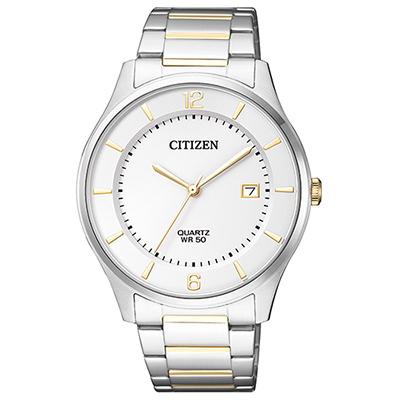 CITIZEN 雙色日期顯示石英男仕手錶(BD0048-80A)-白/38mm