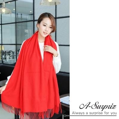 A-Surpriz 氣質優雅素色寬版仿羊絨披肩圍巾(紅)