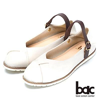 bac經典兩用-舒適真皮後踩平底鞋米色