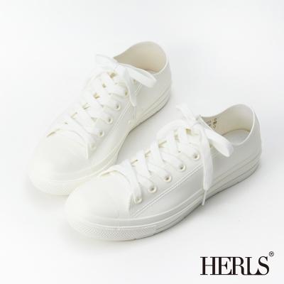 HERLS-雨季必備-帆布款低筒綁帶雨鞋-白色