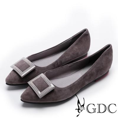 GDC-優雅羊絨斜紋方釦肩頭平底鞋-槍灰色