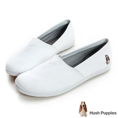 Hush Puppies 熱銷基本款★咖啡紗皮質懶人鞋-白色