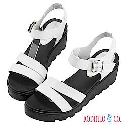 Robinlo & Co.進口一字帶牛皮厚底涼鞋 白色