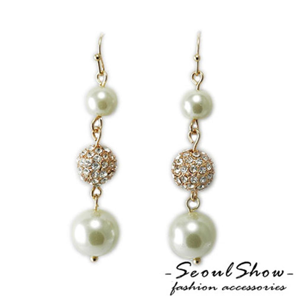 【Seoul Show】初戀粉色系 貝珠奧地利水晶耳環