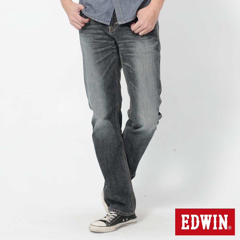 EDWIN 503基本袋花直筒牛仔褲-男-拔洗藍