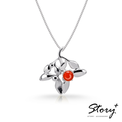 STORY故事銀飾-SNOW系列-Mistletoe槲寄生紅玉髓項鍊(大)
