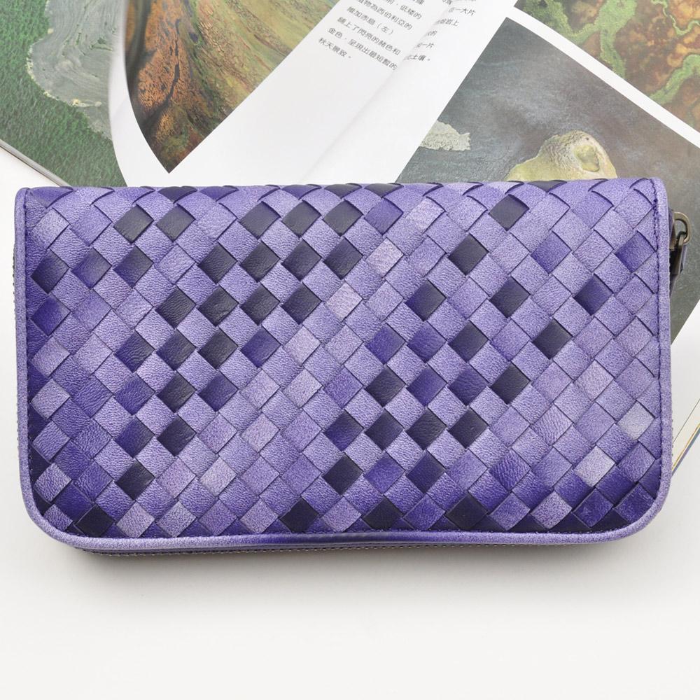Yasmine 進口羊皮手工編織雙色拉鍊長夾(玫瑰紫)