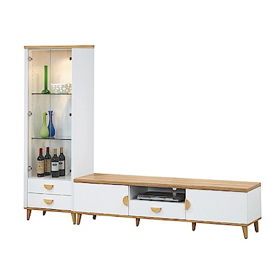 品家居 維亞8尺L型電視櫃組合(長櫃+展示櫃)-240.5x40x182cm免組