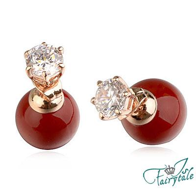 iSCrystal 伊飾晶漾 六角鋯石 艷紅珍珠耳環
