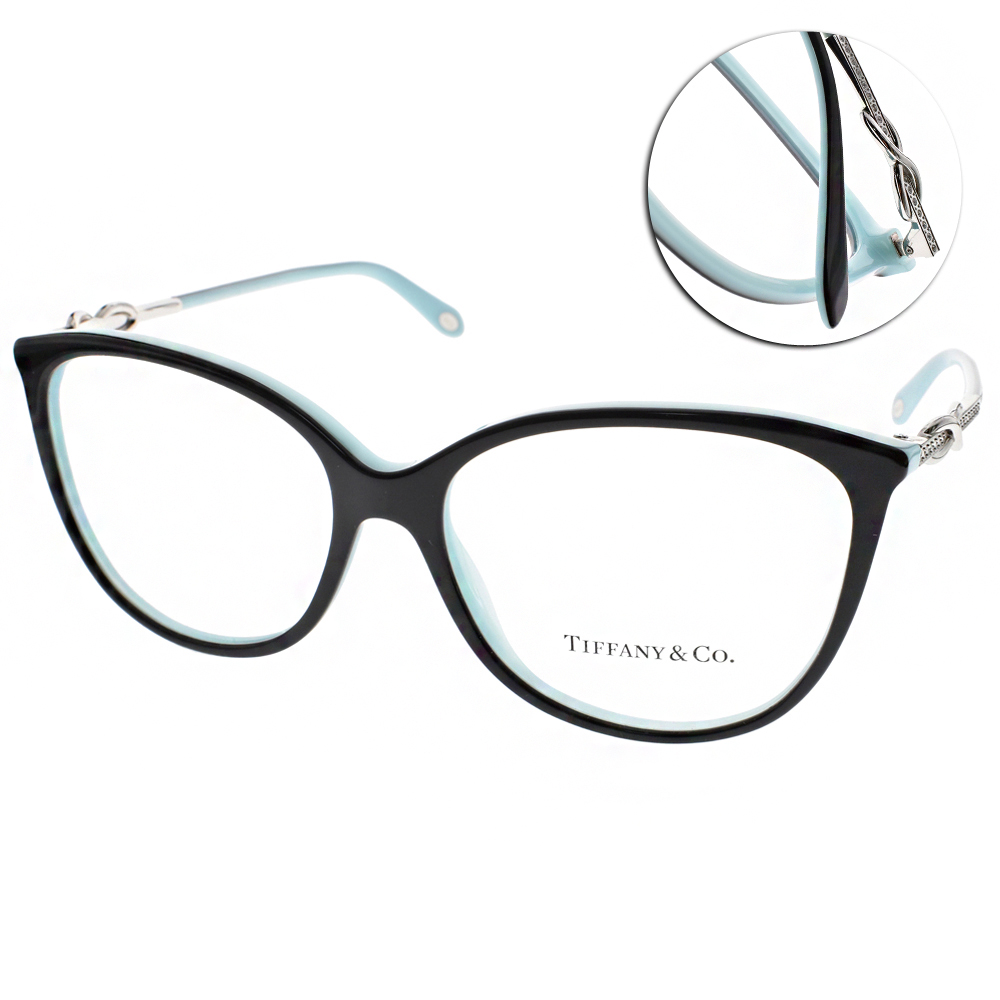 Tiffany&CO.眼鏡 雋永晶鑽貓眼款/黑-銀#TF2143B 8055