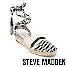 STEVE MADDEN-MESA 麻編厚底綁帶涼鞋-針織黑白