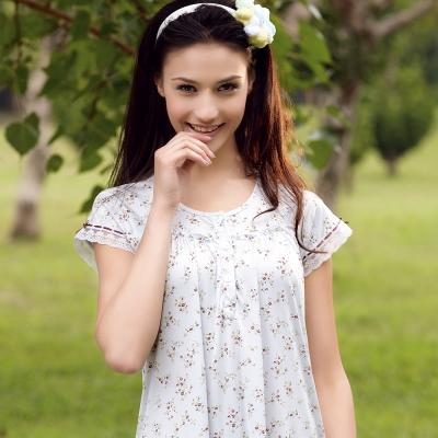 【羅絲美】愛戀玫瑰短袖洋裝睡衣 (迷人藍)