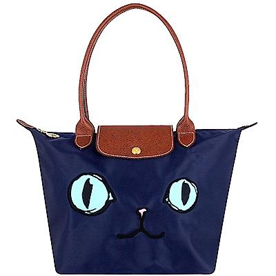 Longchamp-藍色貓咪圖騰長背帶折疊水餃包