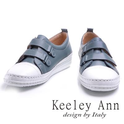 Keeley Ann休閒假期~魔鬼氈撞色全真皮平底休閒鞋(藍色)