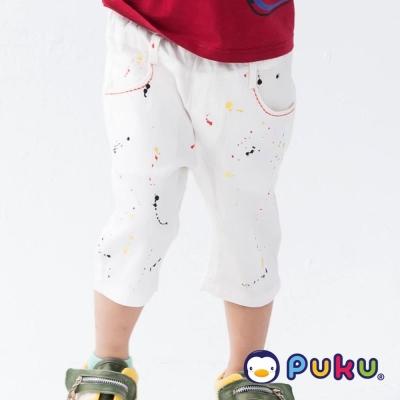 PUKU藍色企鵝 小藝術家水彩噴墨鬆緊五分褲