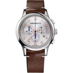 AEROWATCH Grace優雅風範三眼計時腕錶-銀x咖啡/42mm