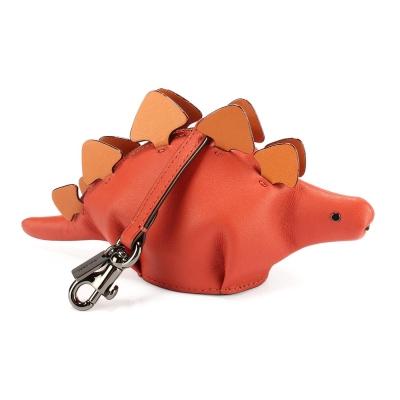 COACH STEGGY可愛劍龍造型撞色皮革吊飾零錢包-磚紅色(附盒)