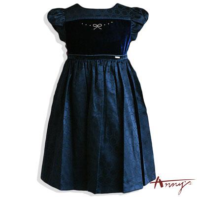 Anny優雅點點水鑽蝴蝶結洋裝*3212藍