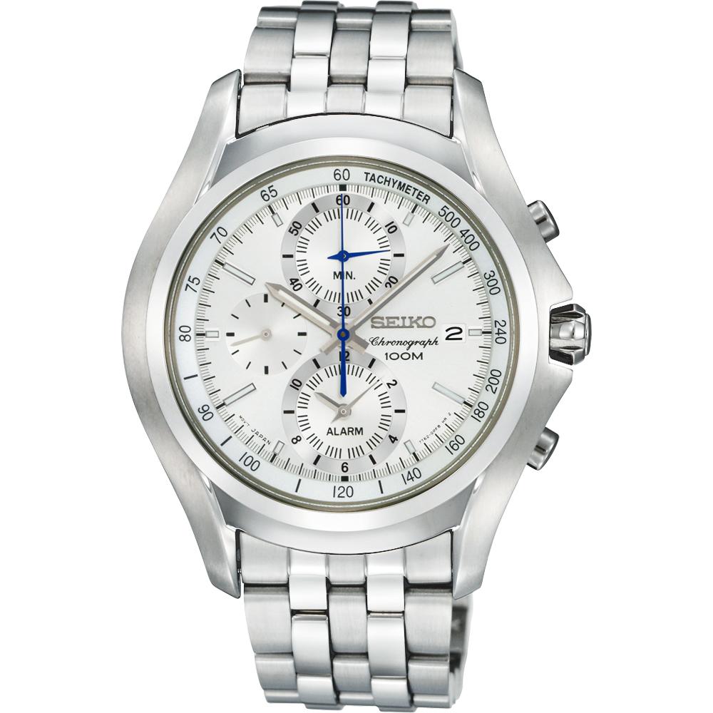 SEIKO 勇者之劍鬧鈴計時腕錶-銀/40mm