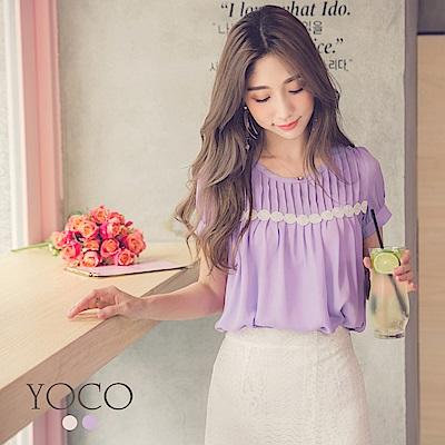 東京著衣-yoco 甜美日系蕾絲拼接百褶短袖上衣-XS.S.M(共二色)