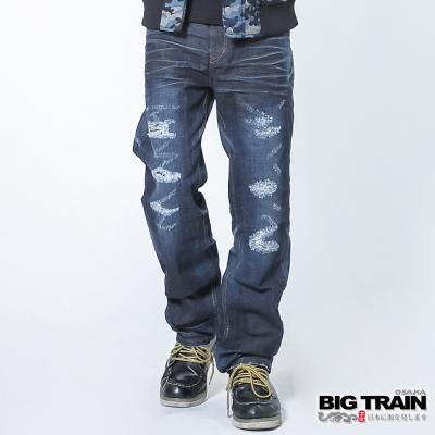 BIG TRAIN 日式和柄直筒褲-男-深藍