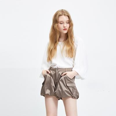 Hana+花木馬 光澤空氣感燈籠口袋造型短褲-咖(2色)