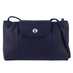 Longchamp Le pliage Cuir小羊皮輕巧斜背包(深藍色)
