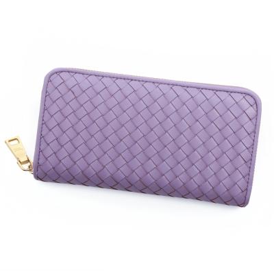 ANNA DOLLY 編織羊皮拉鍊長夾 Leather系列 薰衣草紫