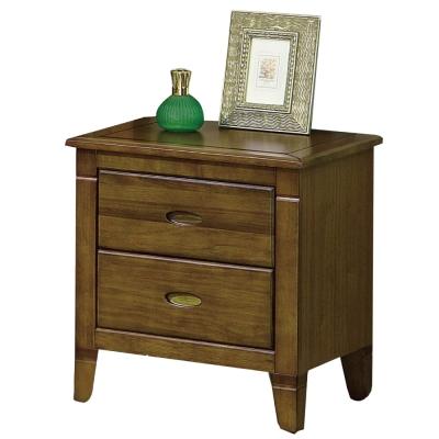 品家居 曼奇1.8尺黃檀木實木二抽床頭櫃-54.5x45x58cm-免組