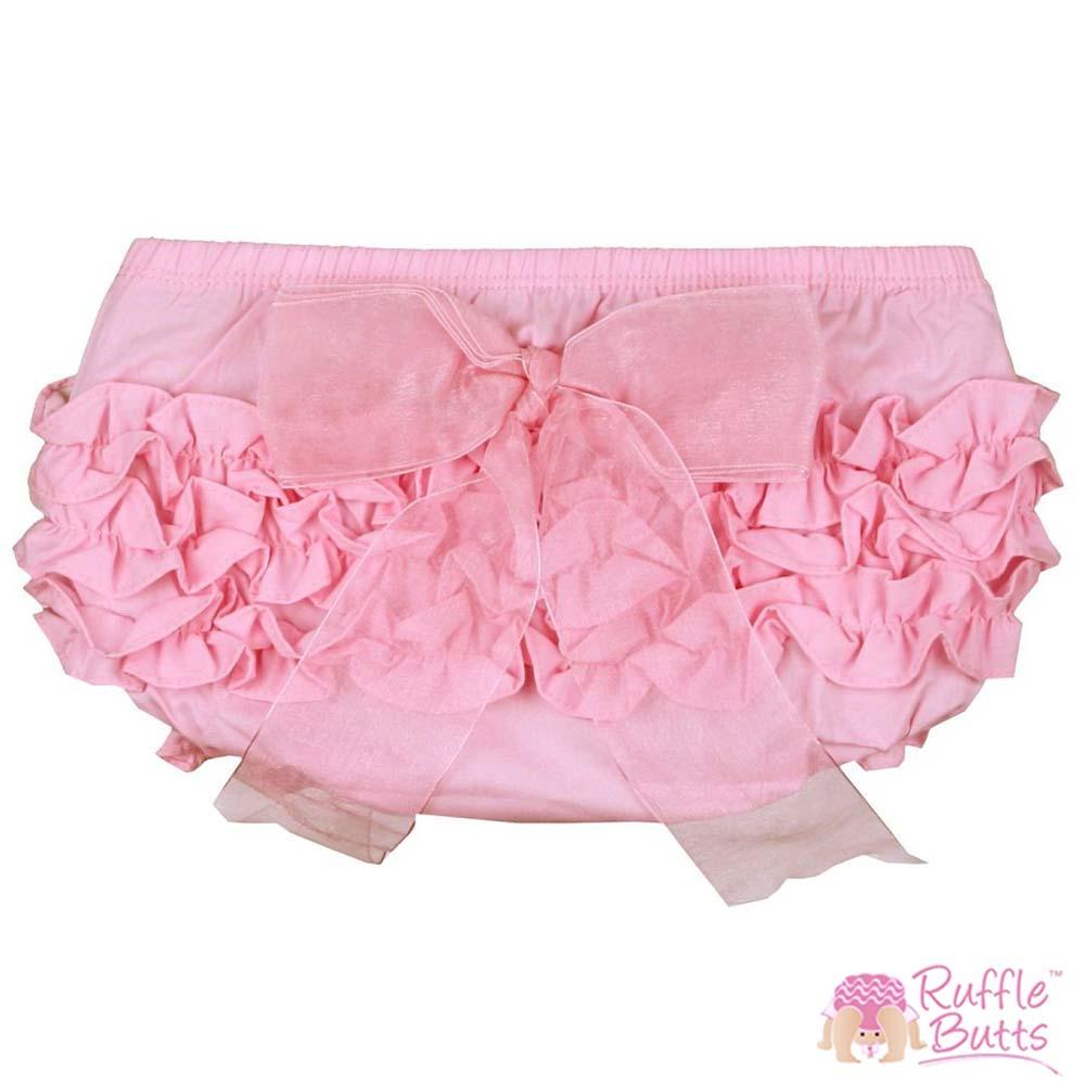 RuffleButts 小女童大蝴蝶結甜美荷葉邊包屁褲-粉色款