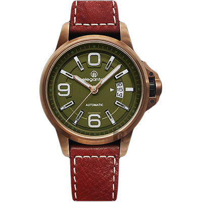 elegantsis JT55A 復古潮流機械腕錶-綠x紅色錶帶/44mm