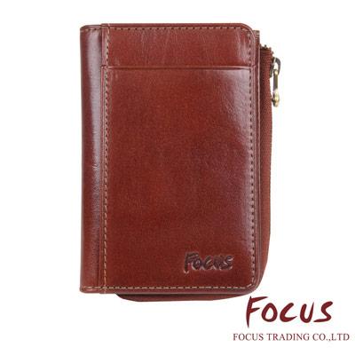 FOCUS 原皮-文創手作系列 L型拉鍊悠遊卡零錢包