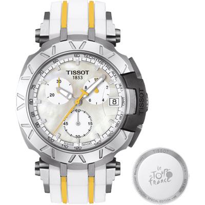 TISSOT 天梭 T-RACE 環法自行車賽特別版計時腕錶-珍珠貝/45mm