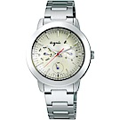 agnes b.全球旅行 世界地圖三眼造型女錶(BYU060P1)-白/32mm