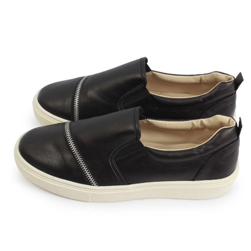 FUFA  MIT 造型拉鍊皮革厚底鞋 $690 (N32)-黑色