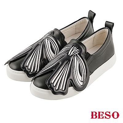 BESO 獨特玩味 真皮彩色大蝴蝶結休閒鞋~黑