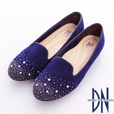 DN-人氣私著-台灣製繁星閃鑽點綴樂福鞋-藍