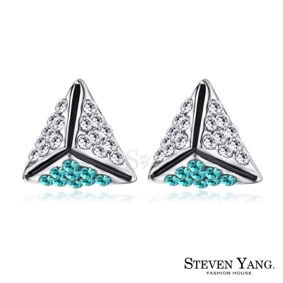 STEVEN YANG 白K耳針式耳環 幸福時光 (藍綠水晶)