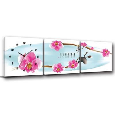 美學365-三聯客製化掛飾壁鐘時鐘畫框無框畫藝術掛畫-是梅-50x50cm
