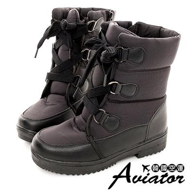 Aviator*韓國空運-尼龍防潑水內鋪毛綁帶馬汀雪靴(含冰爪)-黑