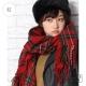 LOWRYS FARM溫暖格紋短流蘇抽鬚圍巾