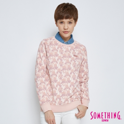 SOMETHING 滿版鳶尾花大學T恤-女-粉色