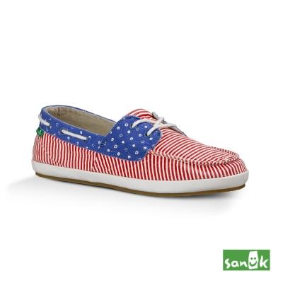 SANUK 美國旗幟綁帶休閒鞋-女款(紅藍色)