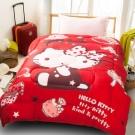 HELLO KITTY時尚寶盒厚毯被(紅)