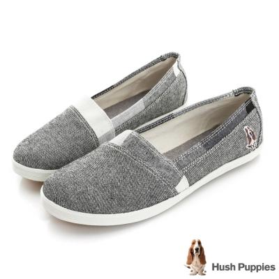 Hush Puppies 拼接格紋咖啡紗TiTi懶人鞋-黑色