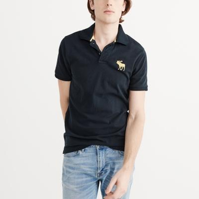 A&F 經典電繡大麋鹿短袖Polo衫- 深藍色 AF Abercrombie