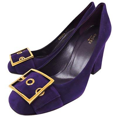 GUCCI 麂皮高跟鞋(紫色)【39.5號】